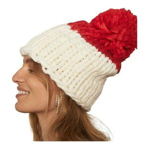 Free People Womens Red Ivory Beanie Hat One Size